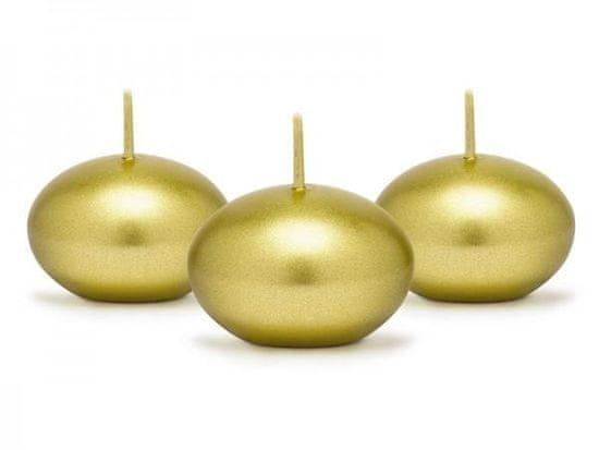 Paris Dekorace Plovoucí zlatá metalická svíčka, 4 cm