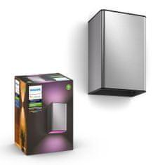 PHILIPS HUE Resonate kültéri fali lámpa LED RGBW 2x8W 1200lm 2000-6500K IP44, nemesacél