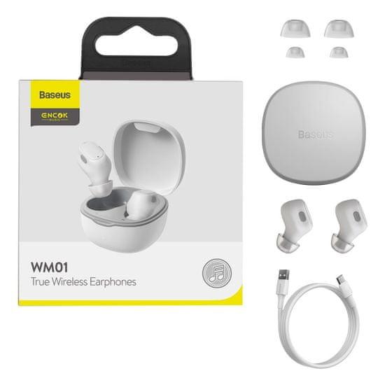 BASEUS Encok WM01 TWS bezdrátové sluchátka, bílé