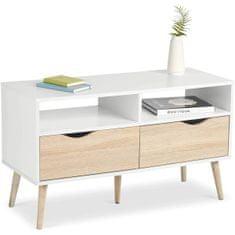 VonHaus Koto manjša TV omarica, bela, hrast (3000070) - Odprta embalaža