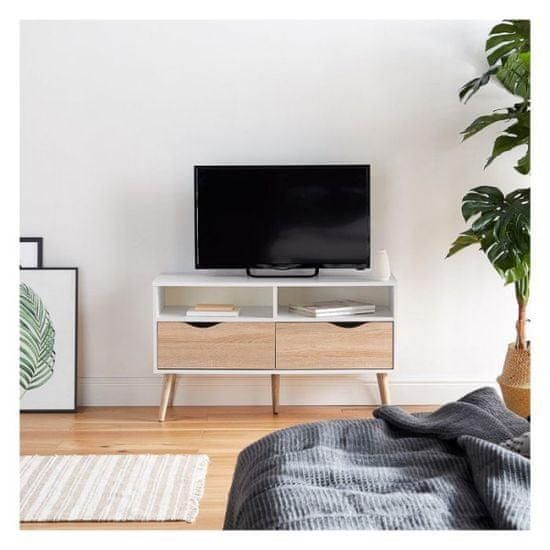 VonHaus Koto manjša TV omarica, bela, hrast (3000070)