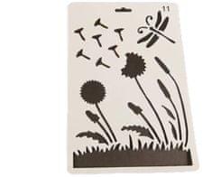 Kraftika Plastová šablona s motivem květin, pampelišky, dekorace
