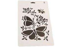 Kraftika Plastová šablona s motivem květin a motýlů, dekorace