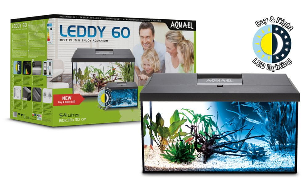 AQUAEL Leddy 60 akvarijní set 60x30x30 cm, 54 l