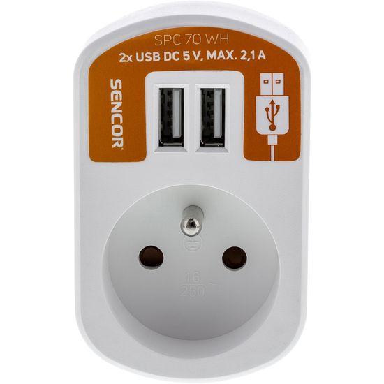 SENCOR SPC 70 WH gniazdo z 2× USB, 5 V / 2 100 mA