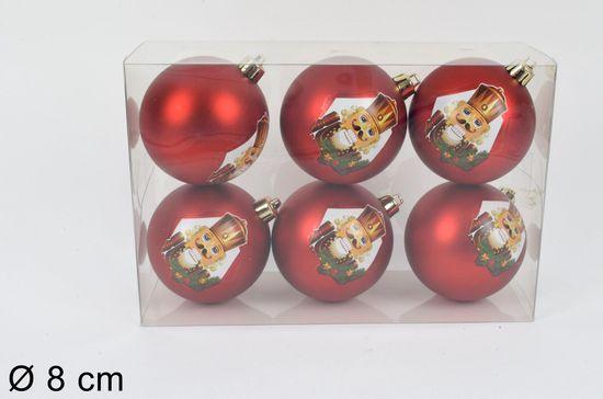 DUE ESSE set 6 steklenih božičnih kroglic Ø 8 cm, rdeče/zlate
