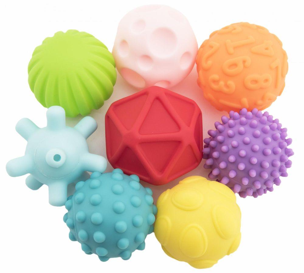 Teddies Sada míčků 8ks s texturou gumové 6-7cm