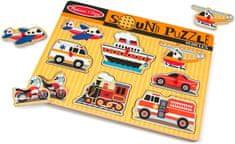 Melissa & Doug Drevené puzzle so zvukmi dopravné prostriedky