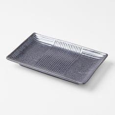 MIJ Hranatý sushi tanier Lines 21x13 cm, čierny