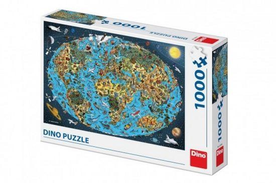 Dino Puzzle Kreslená mapa světa 1000dílků v krabici