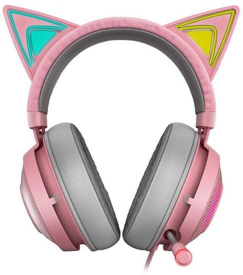 Razer Kraken Kitty gaming slušalke, roza