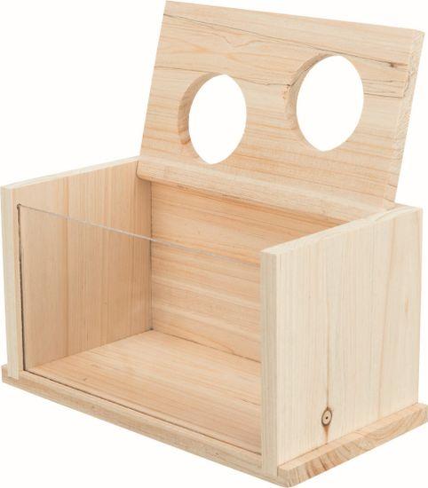 Trixie peščena kopel za miši/hrčke lesena, 20x12x12 cm
