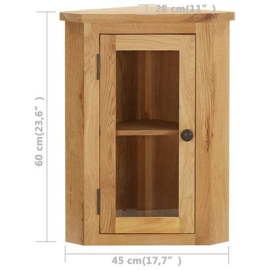 shumee Stenska kotna omarica 45x28x60 cm trdna hrastovina