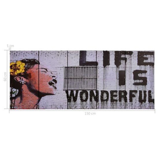 shumee Zestaw obrazów z napisem Life is Wonderful, kolorowy, 150x60 cm