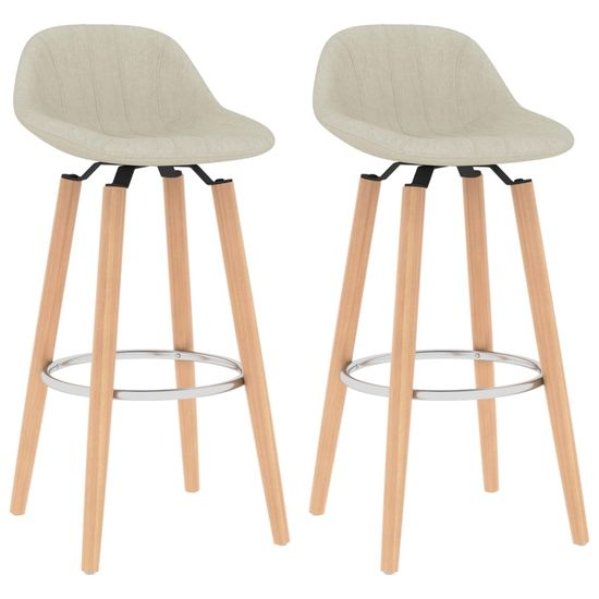 shumee Barski stolčki 2 kosa krem blago