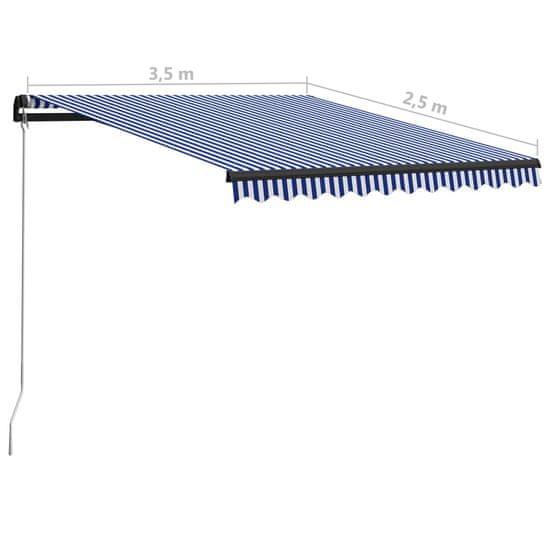 shumee kék és fehér kézzel kihúzható napellenző 350 x 250 cm