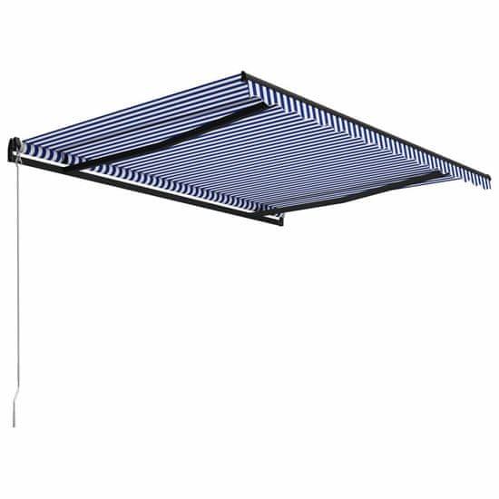 shumee kék és fehér kézzel kihúzható napellenző 400 x 300 cm