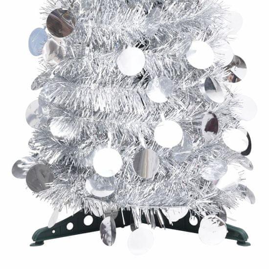 shumee Zložljiva umetna novoletna jelka srebrna 120 cm PET