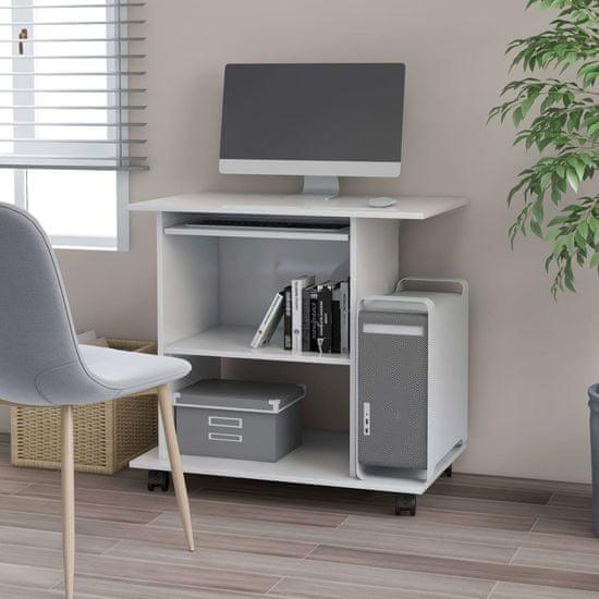 shumee magasfényű fehér forgácslap számítógépasztal 80 x 50 x 75 cm