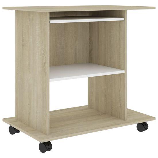shumee fehér és sonoma-tölgy forgácslap számítógépasztal 80x50x75 cm