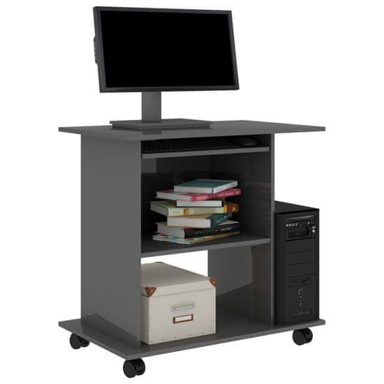 shumee magasfényű szürke forgácslap számítógépasztal 80 x 50 x 75 cm