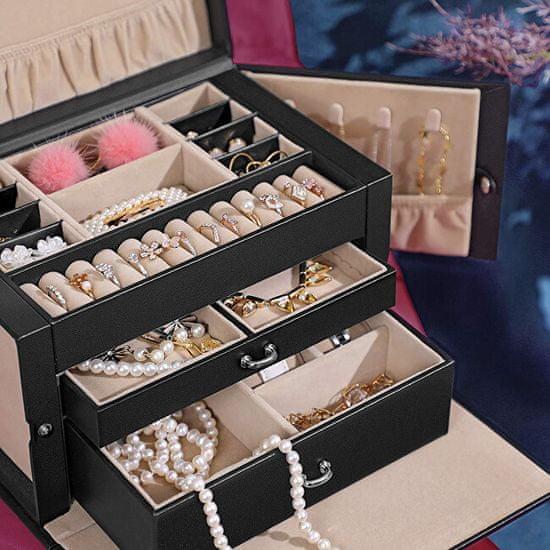 Troli Ekskluzivna črna škatla za nakit z ogledalom JBC121B