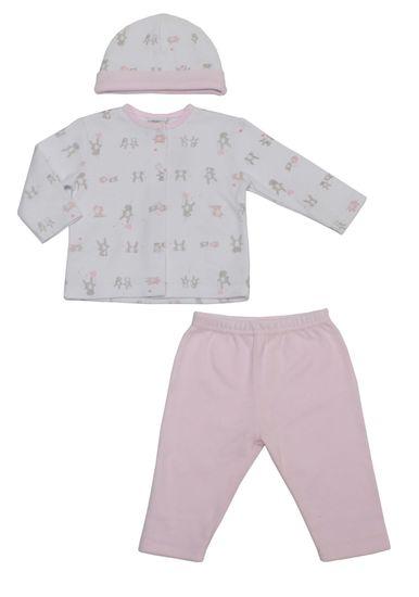 Just Too Cute Komplet kojenecký s čepičkou – zajíčci – růžový