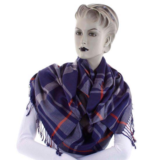 Cashmere Károvaná dámská šála Mirna tmavě modrá