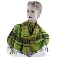 Cashmere Károvaná dámská šála Mirna zelená