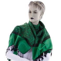 Cashmere Vzorovaná dámská šála Lara zelená