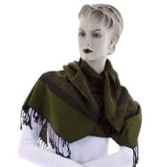 Cashmere Vzorovaná dámská šála Lara tmavě zelená