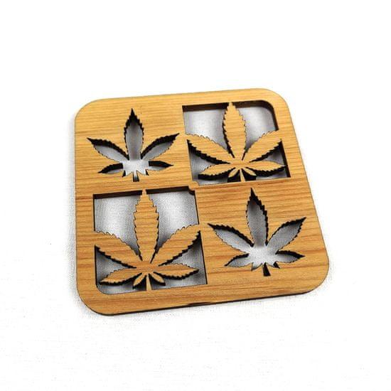 AMADEA Dřevěný podtácek hranatý se 4 listy, masivní dřevo, 10x10 cm