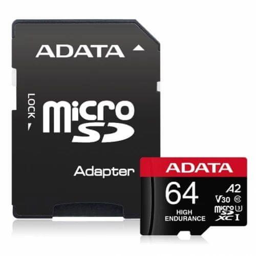 A-Data High Endurance microSDXC spominska kartica, 64 GB, UHS 3, V30, A2 + SD adapter