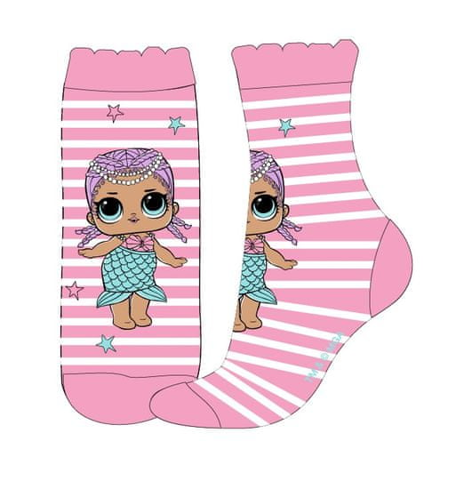 """Eplusm Dekliške visoke nogavice """"LOL"""" - roza"""