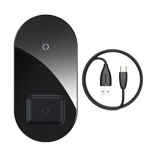 BASEUS Simple 2-in-1 Wireless Charger 18W Max for Phone + AirPods (Qi) WXJK-01, čierna