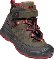KEEN REDWOOD MID WP Y steel grey/red dahlia bőr bokacsizma gyermekek számára, 32.5, khaki