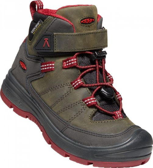 KEEN otroški zimski škornji Redwood MID WP Y steel grey/red dahlia, 34, kaki - Odprta embalaža