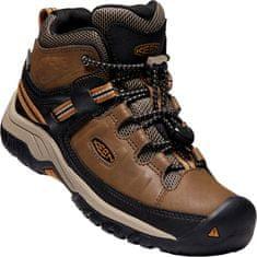 KEEN Bőr magasszárú gyerek cipő TARGHEE MID WP Y dark earth/golden brown, 32.5, barna