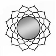 AMADEA Dřevěné zrcadlo ve tvaru mandaly, černá barva, průměr 41 cm