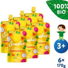 Salvest Smushie BIO Ovocné smoothie s meruňkou, ananasem a lněnými semínky (6x 170 g)