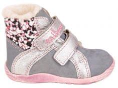Medico buty zimowe za kostkę dziewczęce, skórzane EX4867/M114 24 szare