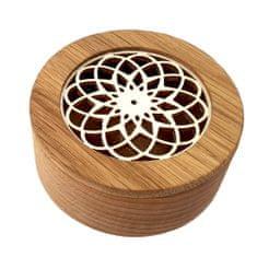 AMADEA Dřevěná krabička kulatá, masivní dřevo s vkladem z topolové překližky ve tvaru mandaly, 8x3 cm