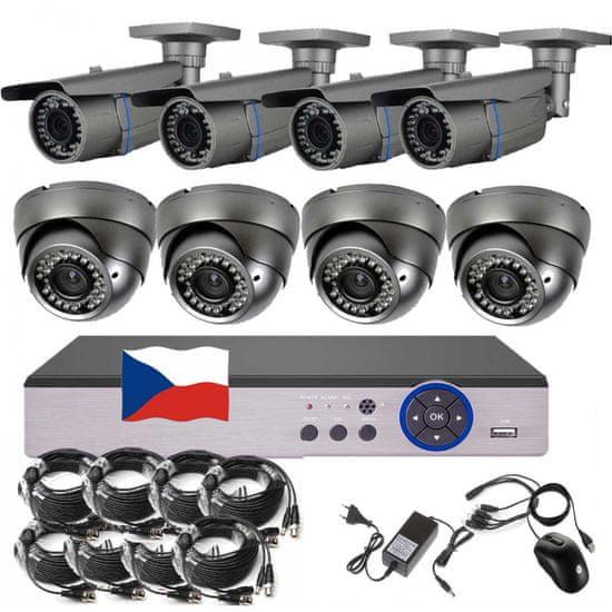Eonboom 8CH 5MPx STARVIS kamerový set CCTV VR4+4 - DVR s LAN a 4 bullet + 4 dome kamery