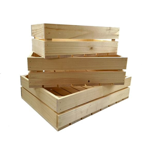 AMADEA Dřevěné bedýnky - sada 3 bedýnek z masivního dřeva, 3 velikosti