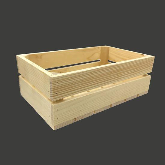 AMADEA Dřevěná bedýnka z masivního dřeva, 34x21x12 cm