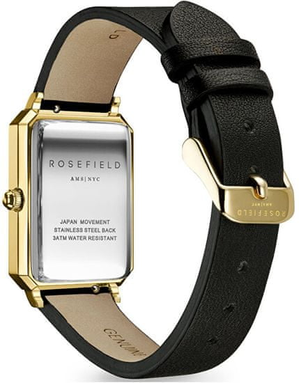 Rosefield The Elles Black Sunray Black Leather Gold OBSBG-O49
