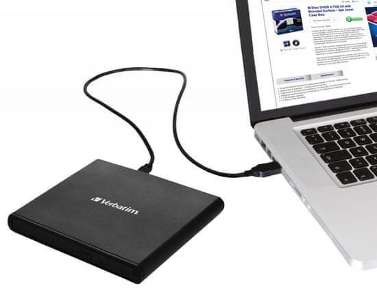 Verbatim Mobile DVD ReWriter zunanji DVD zapisovalnik, črn (53504)