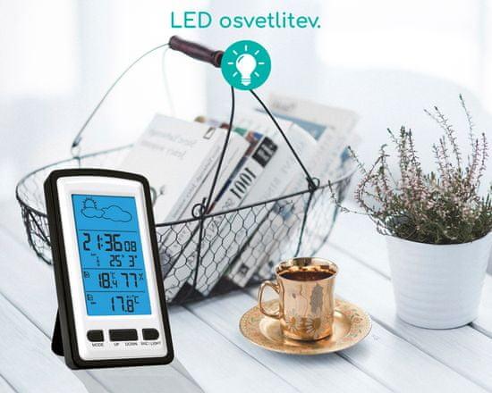 Omega OWS01 brezžična vremenska postaja, velik zaslon, modra LED osvetlitev