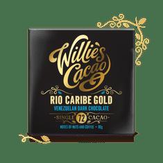 Willies Cacao Čokoláda Venezuelan Gold, Rio Caribe hořká 72%, 50g