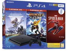 SONY PlayStation 4 Slim - 500GB, čierna + Spider-Man + Horizon Zero Dawn + Ratchet & Clank (PS719391708)